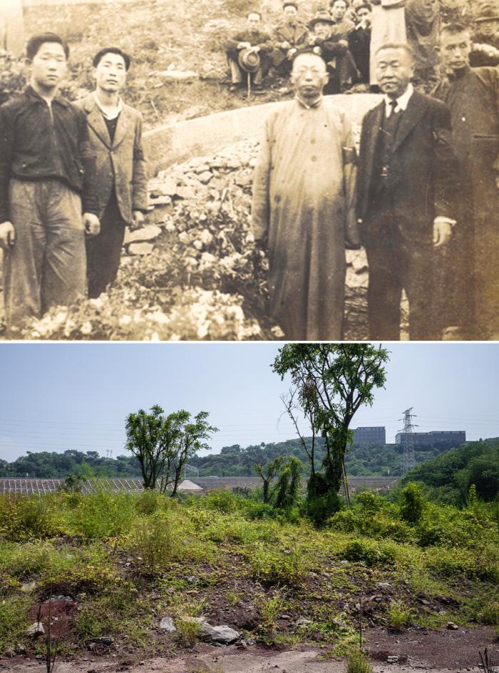 1939년 4월 중국 충칭시 화상산 한인묘지에서 엄수된 김구 선생의 어머니 곽낙원 여사의 장례식 모습(위쪽 사진). 현재 묘지는 사라지고 공터에는 고층아파트가 들어설 예정이다.  국사편찬위 전자사료관·김동우 사진작가 제공
