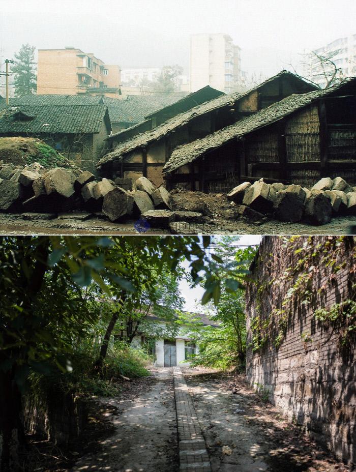 항일투쟁을 위해 충칭으로 옮겨 온 대한민국임시정부 요인과 가족들이 투차오 한인촌에 지은 단층집(2002년 촬영·위쪽)들은 현재 헐리고 없다.<br />출처 | 독립기념관 국외독립운동 사적지, 김동우 사진작가 제공