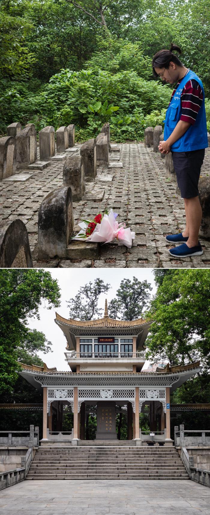 지난달 17일 중국 광저우 동정진망열사묘원의 학생묘원에 묻힌 안태 선생의 묘비(위쪽 사진)에 독립대장정에 참여한 시민이 꽃을 두고 묵념하고 있다. 광저우의 기의열사능원 안에도 1920년대 중국혁명의 소용돌이에 휩쓸려 희생당한 조선인 150명을 기리는 정자(아래)가 세워져 있다.  김동우 사진작가 제공