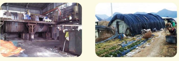 고용주들이 이주노동자에게 '기숙사'로 제공한 작업장 부속 공간(왼쪽)과  비닐하우스로 만들어진 임시 가건물. 국가인권위원회 제공