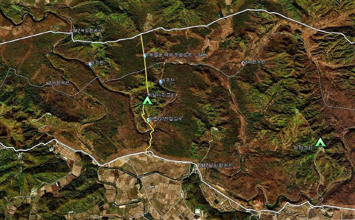 DMZ유해발굴 현장의 위성지도.  | 녹색연합