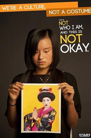 2011년 미국 오하이오 대학 학생들이 전개한 '우리는 문화다, 코스튬이 아니다' 캠페인 포스터