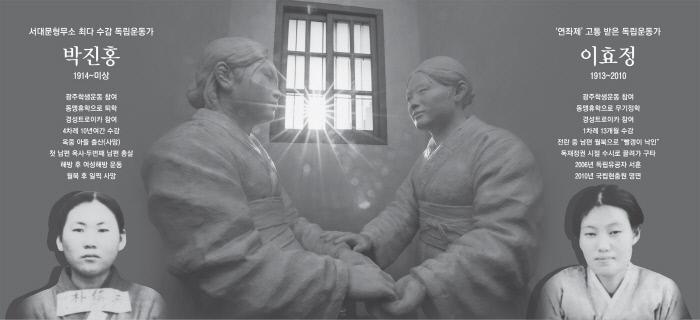 감옥에서 다시 만난 두 친구 1935년 각각 일제에 체포돼 수감됐던 박진홍과 이효정이 서대문형무소 여옥사에서 만난 장면을 형상화한 조각 작품이 여옥사 7번방에 전시돼 있다.  이준헌 기자 ifwedont@kyunghyang.com