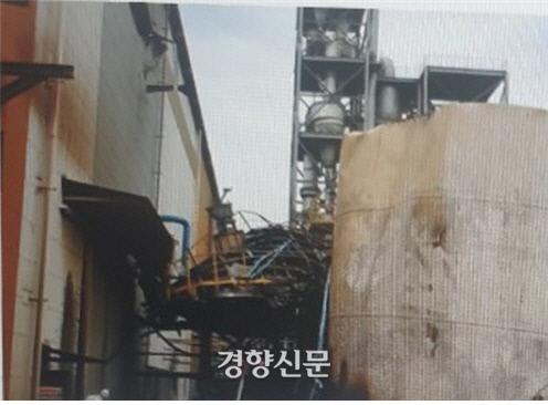 폭발한 슬러리 탱크. 민주노총 금속노조 포스코지회 제공.