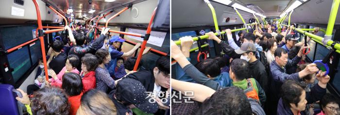왼쪽 사진은 첫차 동시 운행 전 7일 첫차 모습, 오른쪽은 첫차를 두 대씩 운행하기 시작한 10일 첫차의 모습. / 권도현 기자 lightroad@kyunghyang.com