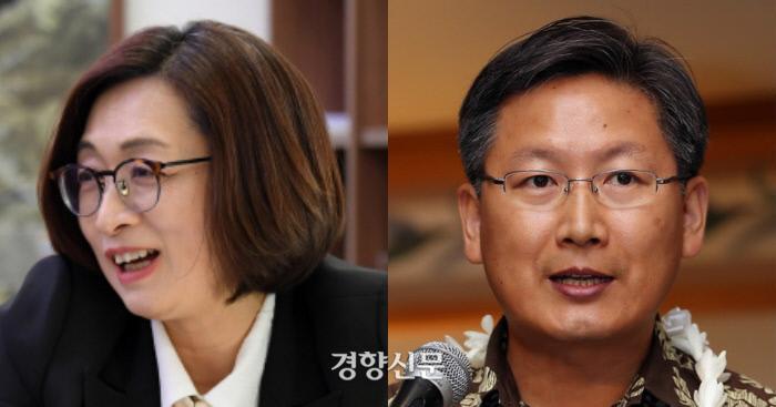 은수미 성남시장(왼쪽)과 백태웅 하와이대 교수 /경향신문 자료사진