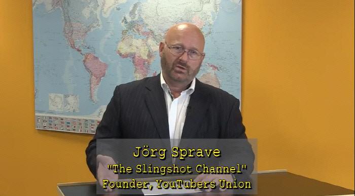 유튜버 유니온 설립자인 요르크 슈프라베. 페어튜브 동영상 갈무리