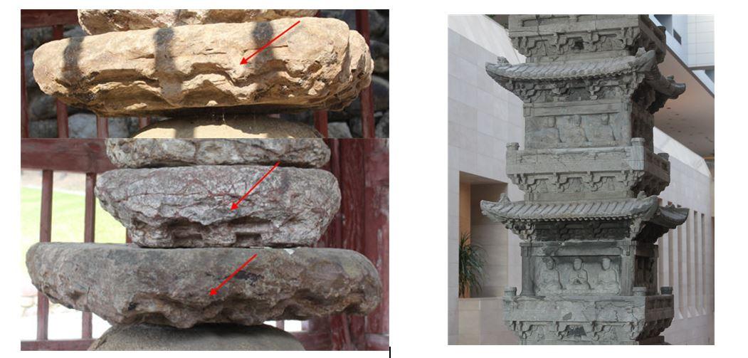 파사석탑 부재에서 확인되는 공포와 출목. 14세기 조성된 경천사지 10층석탑의 공포를 연상케한다. |전지혜의 논문에서