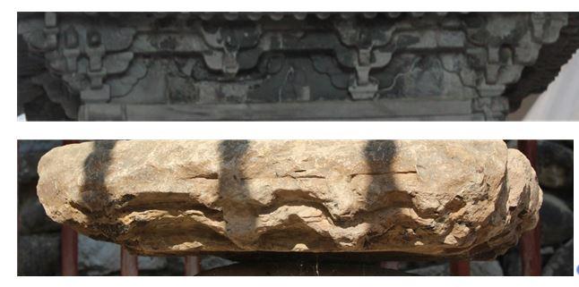 경천사탑의 공포부분(위사진)과 파사석탑의 공포 흔적을 비교한 사진. |전지혜의 논문에서