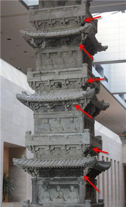 경천사지 10층석탑에 보이는 공포 부분. 파사석탑의 공포 흔적과 흡사하다.|전지혜의 논문에서