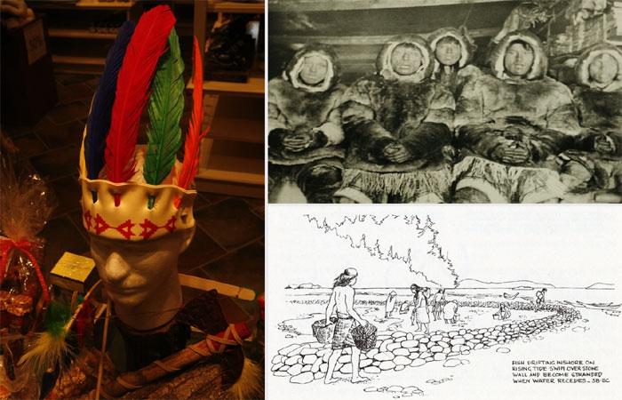 유럽에서 넘어온 이방인들로부터 멸종을 강요당한 북미 원주민은 이제 선물가게의 기념품으로 확인할 수 있는 존재가 됐다(왼쪽 사진). 동토의 땅의 원주민인 이누이트족은 눈과 얼음을 수십 종류로 구분해 불렀다. 그러나 이 소중한 민속지식은 효율만을 중시하는 시스템으로 인해 점점 사라졌다 (오른쪽 사진 위). 북미 원주민의 전통적인 고기잡이법 어살(돌살). 어느 집단도 강과 바다의 산물을 독점적으로 차지할 수 없다는 삶의 방식을 보여준다 (오른쪽 사진 아래).