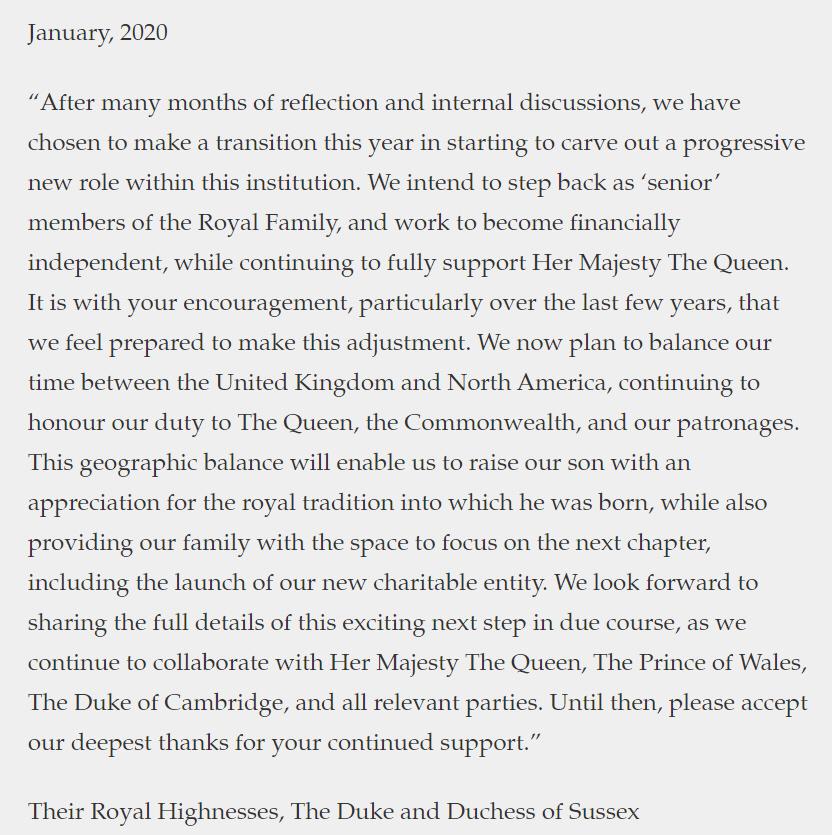 영국 해리 왕자와 부인 메건이 공식 웹사이트에 올린 글.