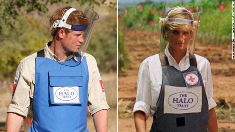2013년 아프리카에서 지뢰제거 작업을 하는 해리 왕자(왼쪽). 오른쪽은 생전에 같은 활동을 했던 고 다이애나비의 모습이다.게티이미지