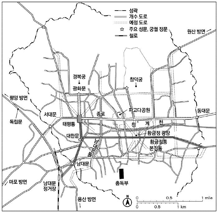 1912년 11월6일 '조선총독부 관보 81호'에 실린 '1913년 경성시구개수예정계획노선도'. 기존 지도 위에 필자가 지명을 표시했다.  산처럼 제공