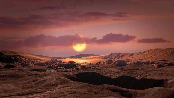지구에서 300광년 떨어진 '케플러-1649C' 행성의 지표면 상상도. 중심 별과의 거리가 적당해 생명체 존재 가능성이 있다.  미국항공우주국(NASA) 제공