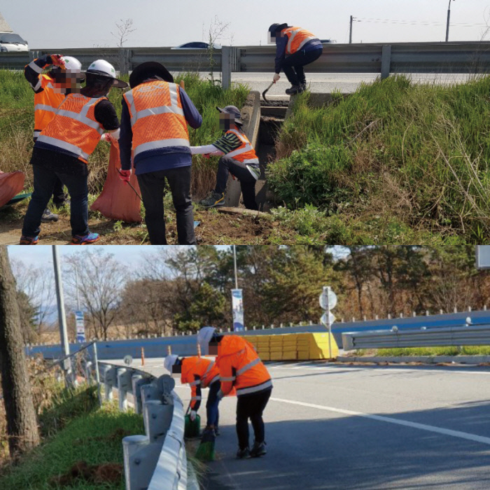현장보조원으로 발령받은 톨게이트 요금수납 노동자들은 고속도로 관리와 청소 업무를 한다. 민주일반연맹 제공
