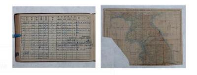 6·25  전쟁 당시 임상섭 조종사가 작성한 비행기록 수첩과 지도. 전투기를 비행한 날짜와 기종, 횟수, 출격지점 등을 상세하게 기록했다. |문화재청 제공