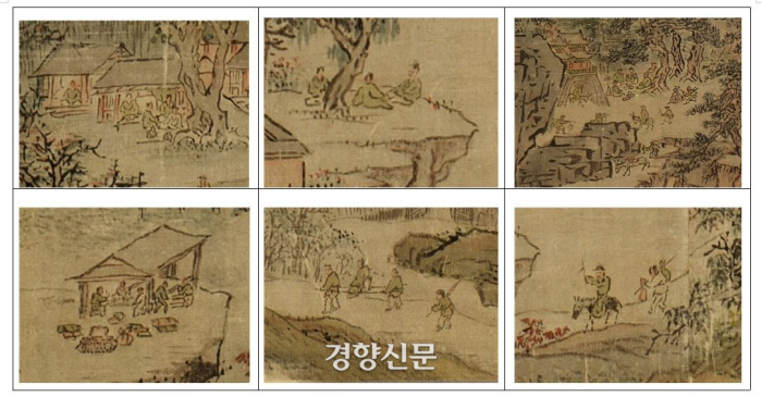 '강산무진도'는 정통산수화로 알려졌지만 그림 속을 살펴보면 다양한 사람들의 삶을 표현했다. 단순한 산수화가 아니라 풍속화라는 평가가 있다.|국립중앙박물관 소장