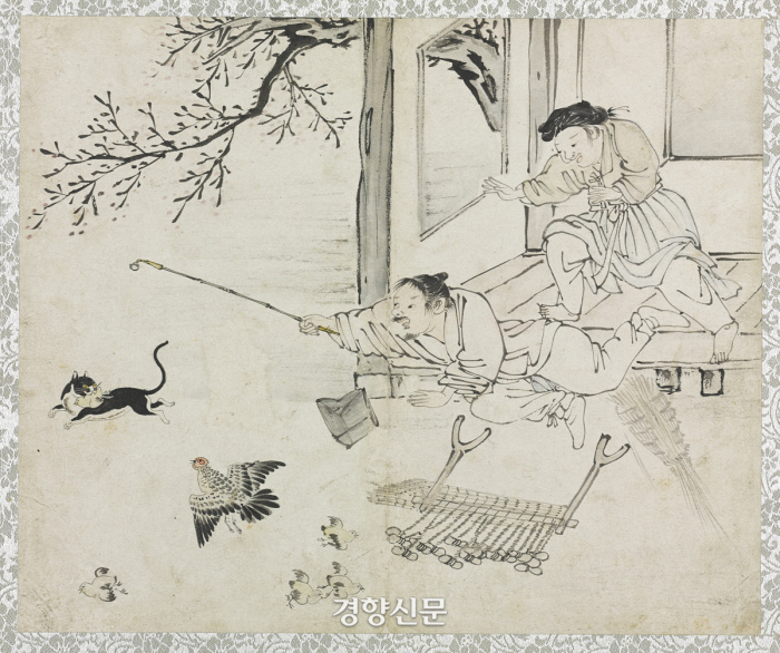 김득신의 대표작인 '야묘도추'(파적도). 들고양이가 병아리를 물고 도망가는 장면을 포착했다. |간송미술문화재단 소장