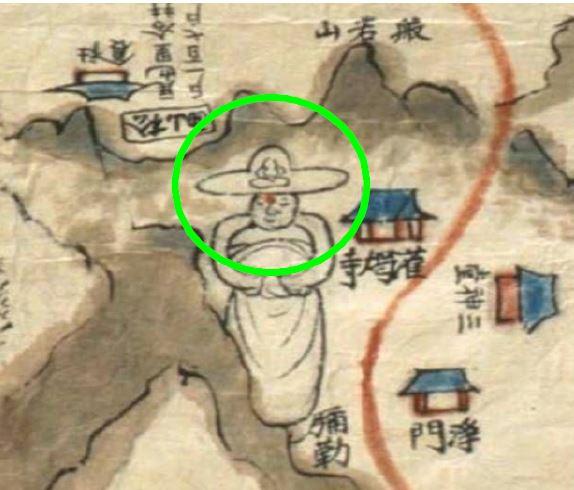 1872년(고종 9년) 제작된 '은진지도'에 표시된 은진미륵의 보관에 불상이 표시되어 있다. | 신은영의 논문에서