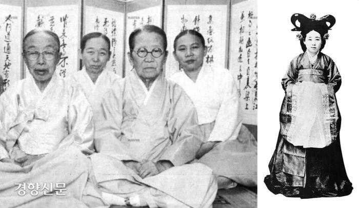 대한제국 말까지 근무했던 마지막 상궁들(왼쪽 사진·경향신문 자료사진) 조선시대에는 궁궐 내 궁녀가 200~600명 정도 사이 있었다고 한다. 오른쪽 사진은 궁녀조직의 최고권력자였던 구한말의 제조상궁 사진(신명호의 <궁녀>. 시공사, 2004에서)