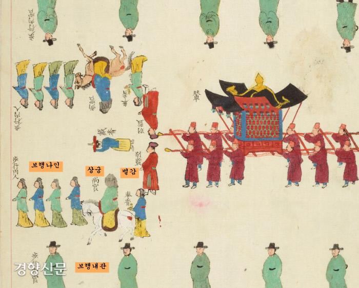 순원왕후의 빨간 가마 주위에 상궁과 시녀(나인)들이 말을 타고 가고 있다. 중앙에 별감들이 차례로 서고 좌우에 보행내관 10인이 나뉘어 열지어 가고 있다.|국립중앙박물관 소장