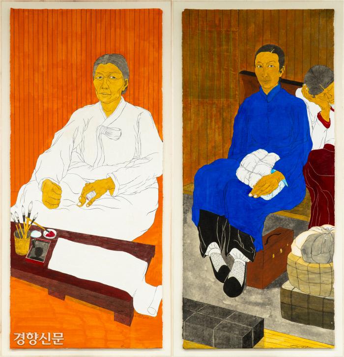윤석남의 '남자현 초상'(한지 위에 분채, 210×94㎝, 왼쪽)과 '정정화 초상'(한지 위에 분채, 210×94㎝). 학고재 제공