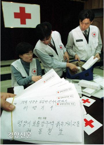 بعد از ظهر 14 مارس 2001 ، یک روز قبل از مبادله نامه خانواده های جدا شده بین دو کره ، کارمندان صلیب سرخ کره ای مشغول بسته بندی نامه ها به شمال بودند.  عکس روزنامه کیونگ یانگ