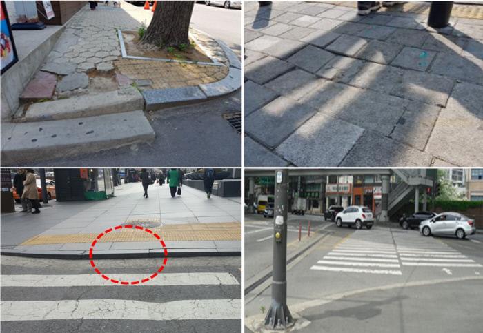 장애인보행시 안전사고 위험이 있거나 불편함을 초래하는 각종 장애물들. 서울시 제공