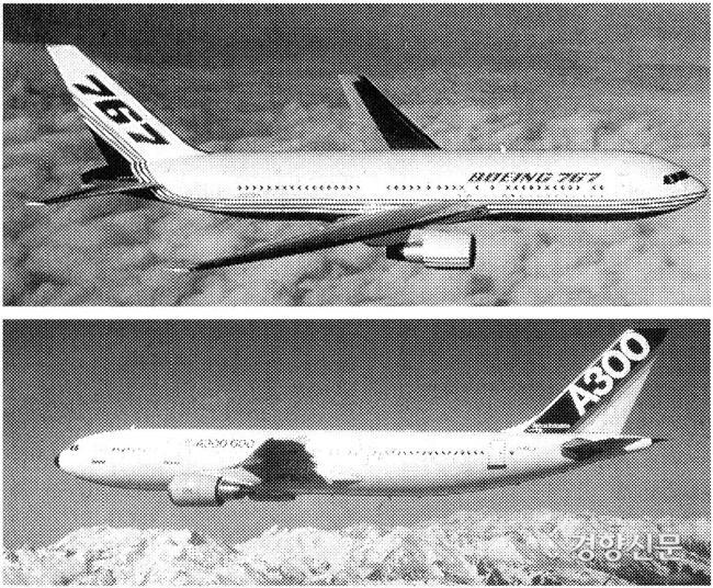 بوئینگ 767 (بالا) و ایرباس A300 (پایین).  عکس پرونده ای از روزنامه کیونگ یانگ