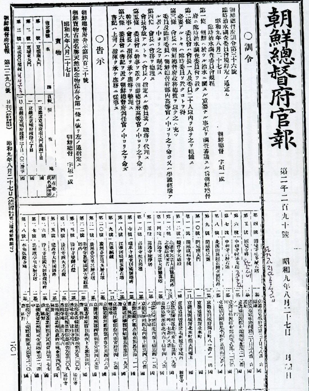 1934년 8월27일 조선총독부 <관보>. 첫번째 문화재 지정이었는데, 이때 보물 1,2호에 경성 남대문(숭례문), 동대문(흥인지문)을  낙점했다.