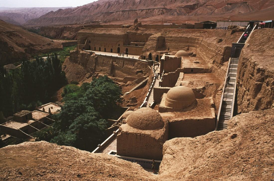 투르판 베제클리크 석굴사원. 오타니 탐험대가 이곳의 석굴에서 벽화를 뜯어왔다. |국립중앙박물관 제공
