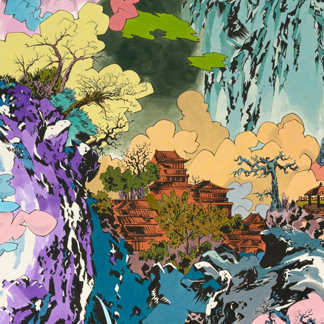 이른 봄, 종이에 먹, 잉크, 아크릴릭 잉크, 194×1300cm (10폭), 2020_2021     ㅣ페리지갤러리 제공