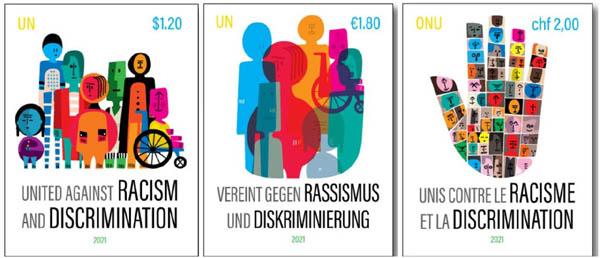 유엔이 2021년 3월 21일 세계 인종차별철폐의 날을 맞아 발행한 우표 3종