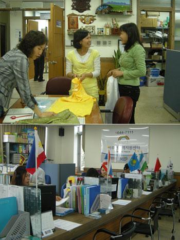 안산 외국인거주센터에서 공연 준비를 하고 있는 동남아시아 여성(위)과 통역 자원 봉사를 하고 있는 동남아시아 여성들. <경향신문 />