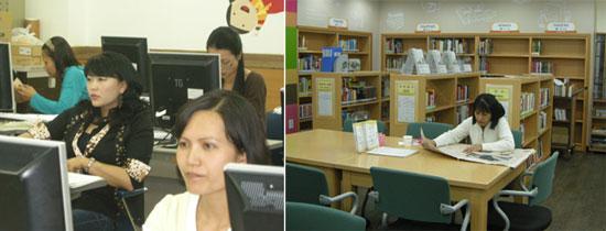 왼쪽_동아시아 여성들이 안산 외국인거주센터에서 컴퓨터 교육을 받고 있다. 오른쪽_한 여성이 다문화 작은도서관에서 자국 신문을 읽고 있다. <경향신문 />