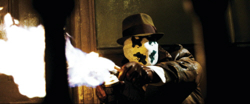 "Rorschach, the character of the movie <Watchman></noscript> 그래픽 소설을 바탕으로 로르 샤흐가 만든 패턴이 있습니다.  그의 이름은 Rorschach에서 유래했습니다.  Warner Bros. Korea 제공.""/></p><figcaption class="