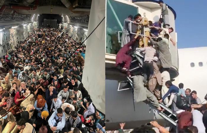 8월 17일(현지시간) 아프가니스탄 카불의 하미드 카르자이 국제공항에서 출발한 수송기 안에 탈레반을 피해 탈출하려는 아프간인들이 발 디딜 틈 없이 앉아 있다(왼쪽). 같은 날 아프간인들이 비행기 탑승구에 필사적으로 매달리고 있다.  트위터 캡처·로이터연합뉴스