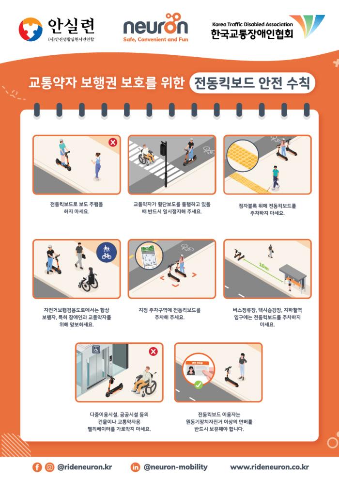 뉴런모빌리티와 한국교통장애인협회·안전생활실천시민연합이 마련한'장애인 등 교통약자의 안전한 보도 이용을 위한 전동킥보드 안전 수칙'. 뉴런모빌리티 제공